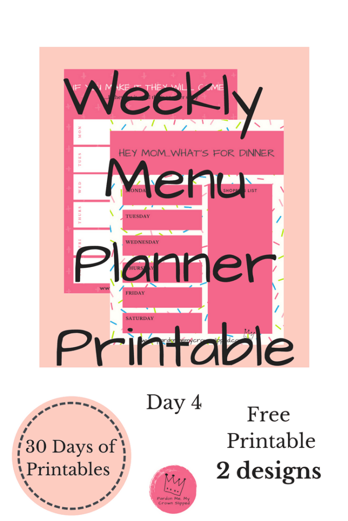 get one of these sassy weekly menu planner printable to get the hassle in your castle under control. Planning makes it so much easier
