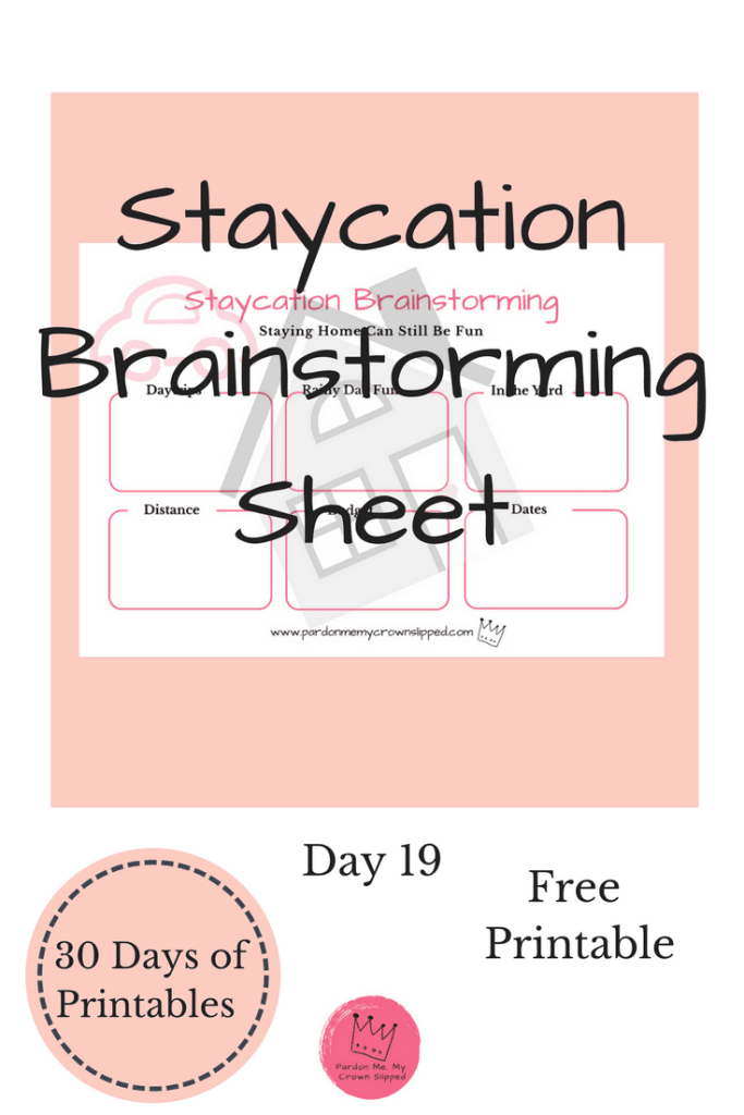 Whether it's necessity or choice staycations can be fun. Use this staycation printable to get creative as to what you want to do