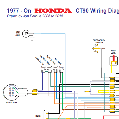 honda ct90 wiring diagram 1977on all systems