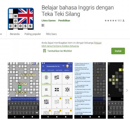 Crossword Puzzle Learn English App Game, game bahasa inggris