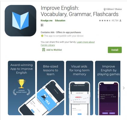 Improve English: Vocabulary, Grammar, Flashcards  English App Game,