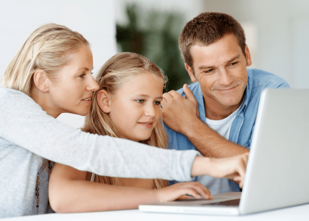 family working on laptop