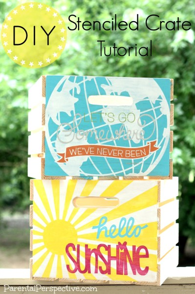 Use stencils to paint plain wooden crates | Parental Perspective
