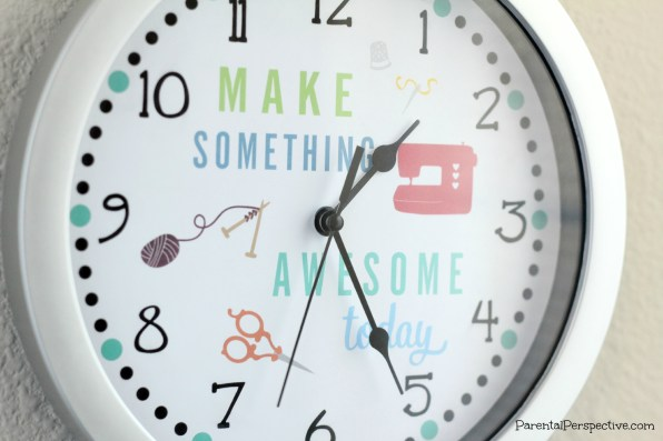Create a clock for your craft space that reminds you it is always time to make something awesome!