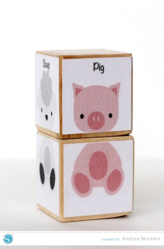 Create animal blocks easily with adhesive cardstock and mod podge!