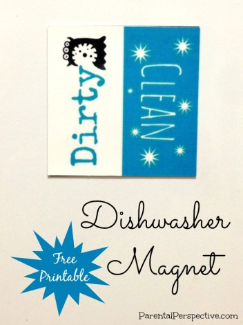 Create a dirty/clean magnet for your dishwasher with this free printable | Parental Perspective