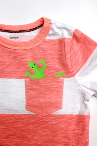 DIY lizard pocket tshirt using Silhouette's neon green heat transfer material | ParentalPerspective.com