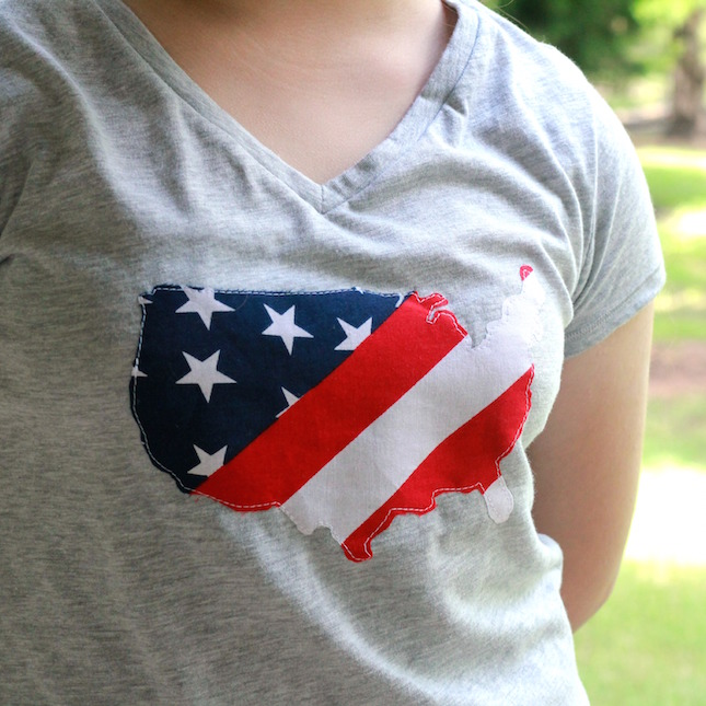 DIY Appliqued Patriotic T-Shirt