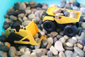 Construction Vehicle Sensory Bin