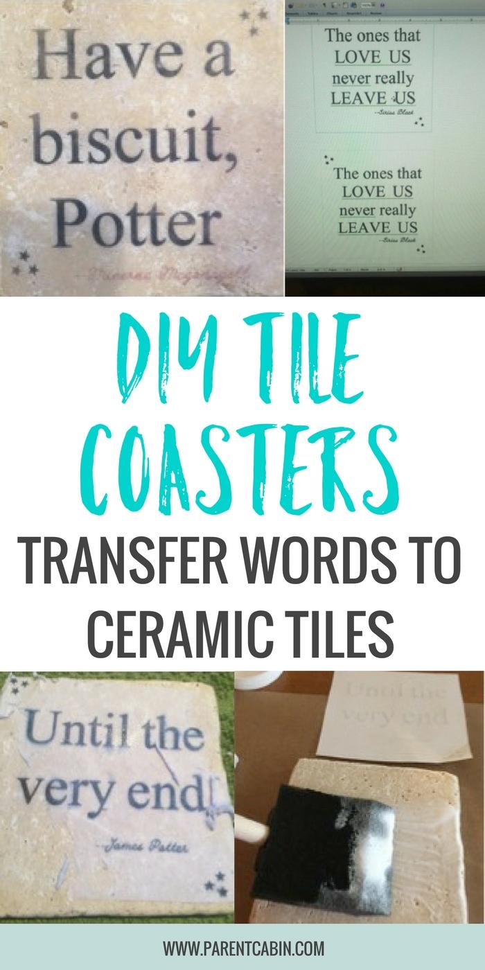 diy tile coasters transfer words onto