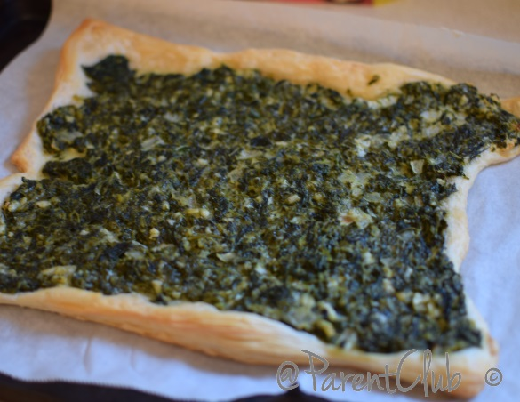Spinach onion feta puff pastry