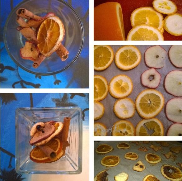 DIY potpourri, dry apples, dry oranges, craft ideas