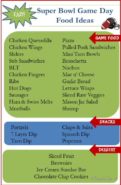 Super Bowl Party Foods Snack Ideas for Game day