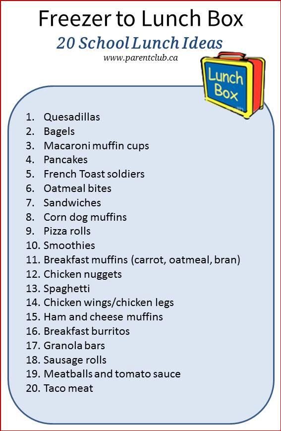 Freezer To Lunch Box 20 School Lunch Ideas