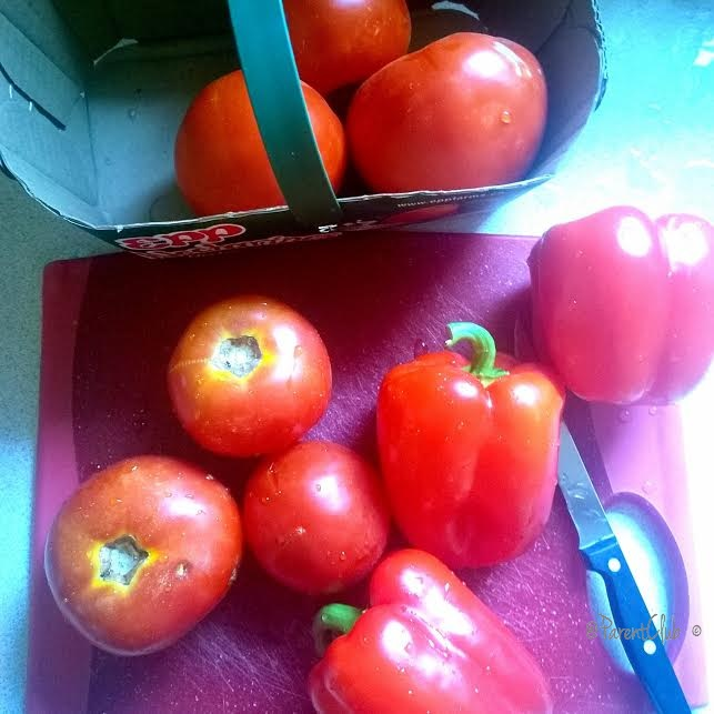 Spanish frita tomatoes and peppers
