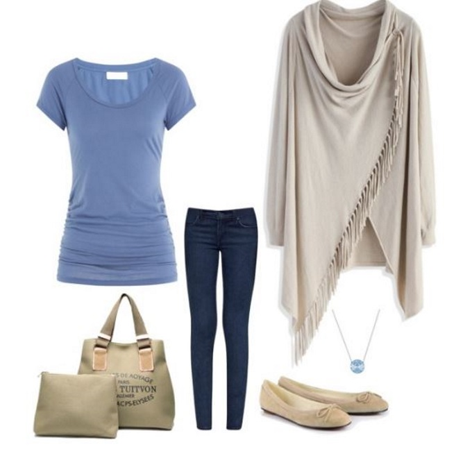 Winter Outfit Ideas, blue and beige outfit