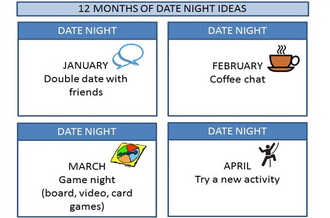 12 Months of Date Night Ideas, A year of pre-planned dates via www.parentclub.ca