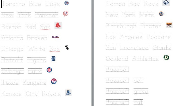 Dotted Lines worksheet for kids to practice writing baseball theme