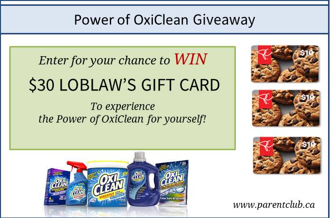 Power of Oxiclean giveaway via www.parentclub.ca