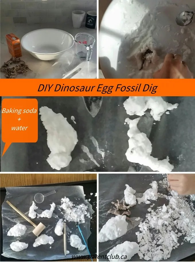 DIY Dinosaur Egg Fossil Dig with just baking soda and water via www.parentclub.ca