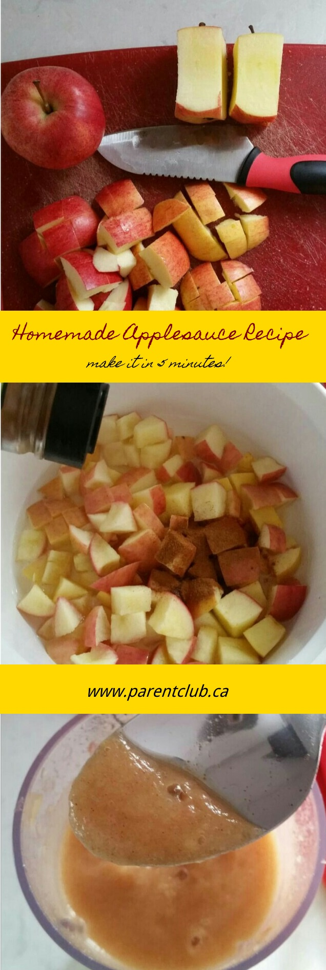 Microwave Homemade Applesauce Recipe via www.parentclub.ca