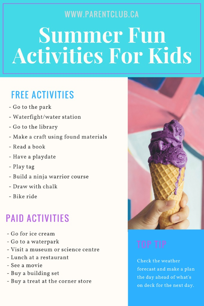 Summer Fun Activities For Kids checklist via www.parentclub.ca