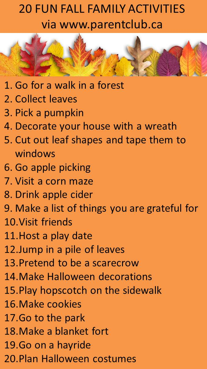 20 fun fall family activities via www.parentclub.ca