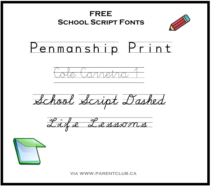 Free School Script Fonts via www.parentclub.ca