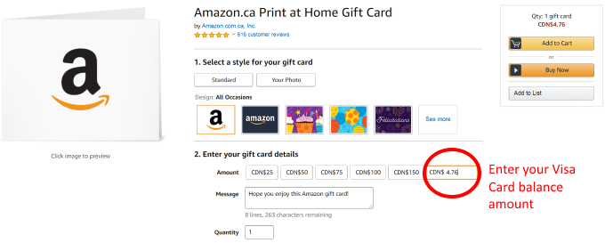 how to use a prepaid visa card at amazon
