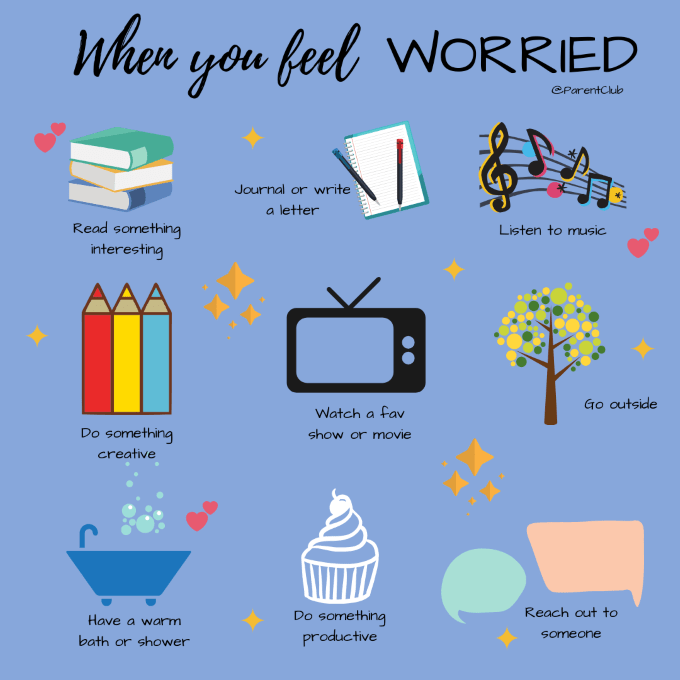 When you feel worried, ways to calm anxiety, via www.parentclub.ca