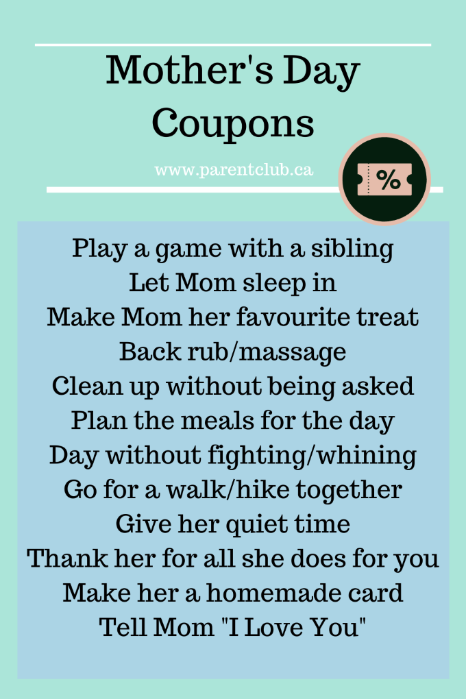 Mothers Day Coupons and Mothers' Day Coupon ideas via www.parentclub.ca - homemade Mother's Day gift ideas