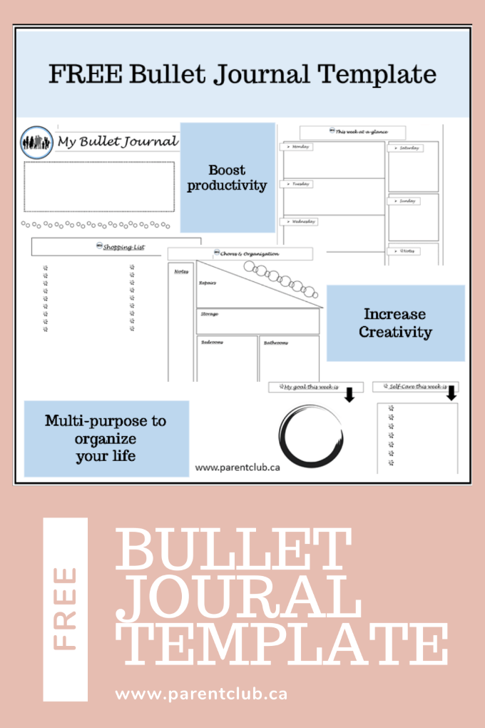 Free bullet journal template, free bullet journal, bullet journal ideas via www.parentclub.ca