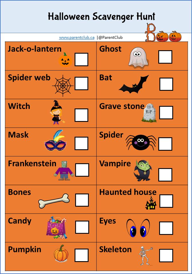 Halloween Scavenger Hunt via www.parentclub.ca, Halloween activity ideas for kids, Halloween games