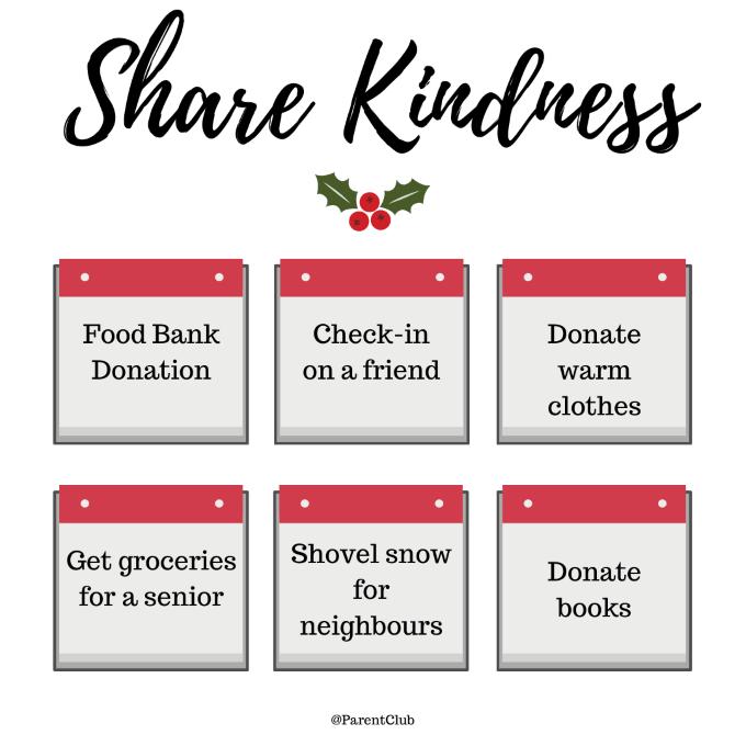 Share Kindness Ideas via www.parentclub.ca, be kind