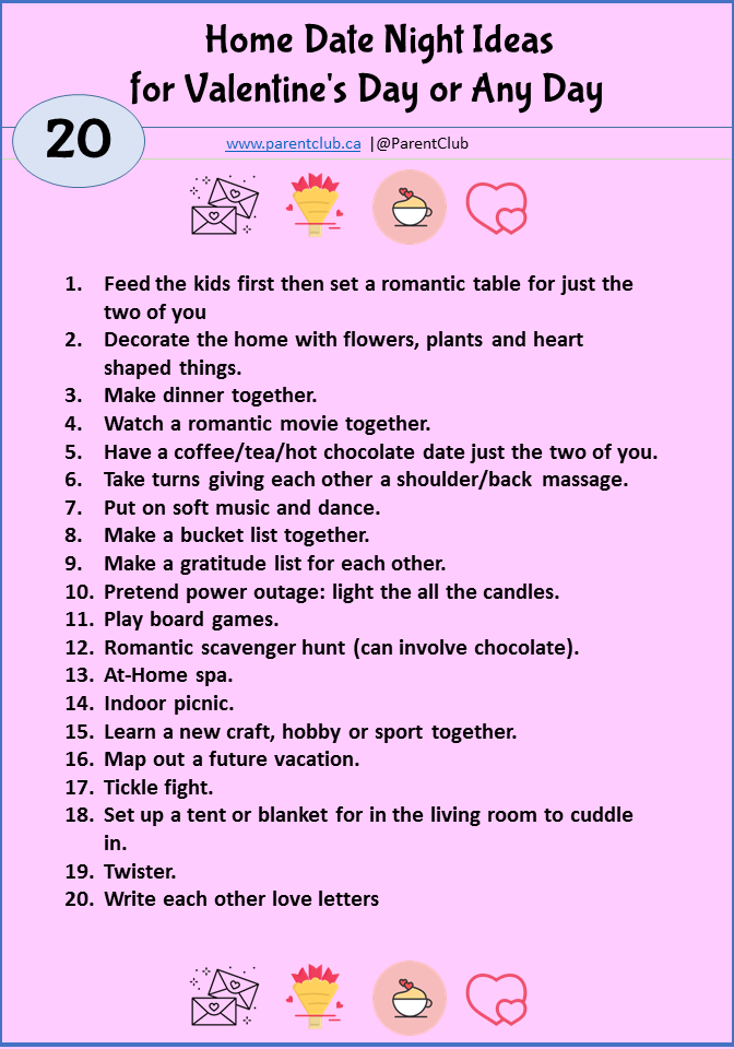 Home Date Night Ideas for Valentine's Day or Any Day via www.parentclub.ca