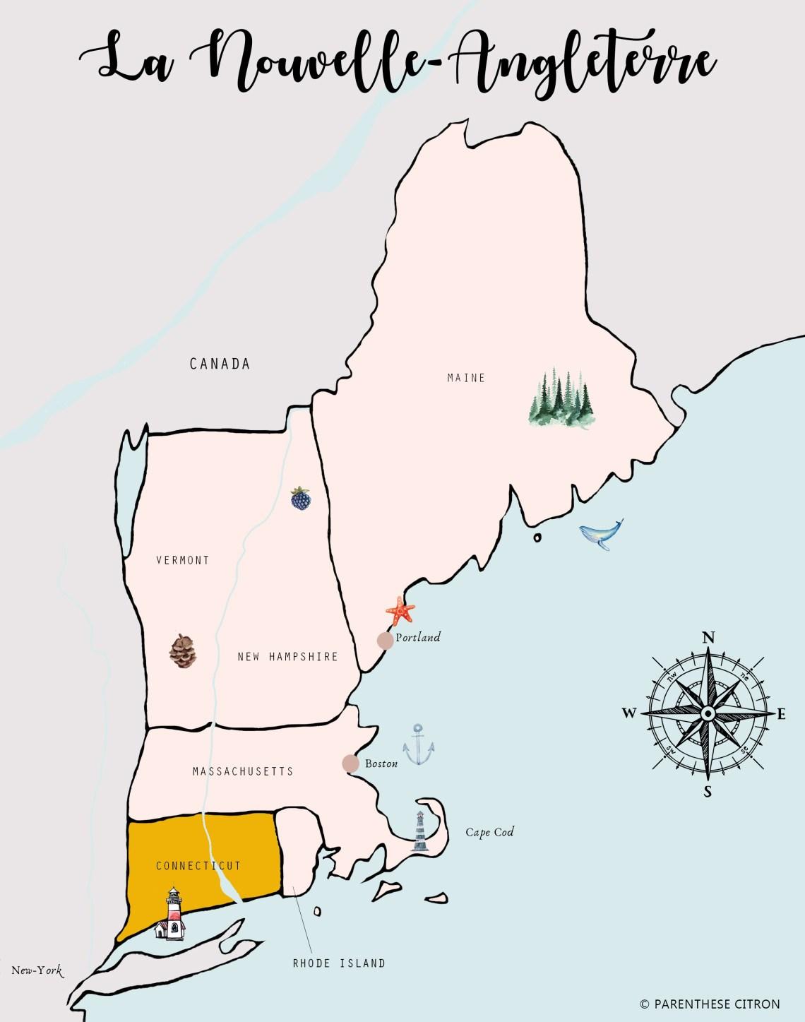 CONNECTICUT tourist map