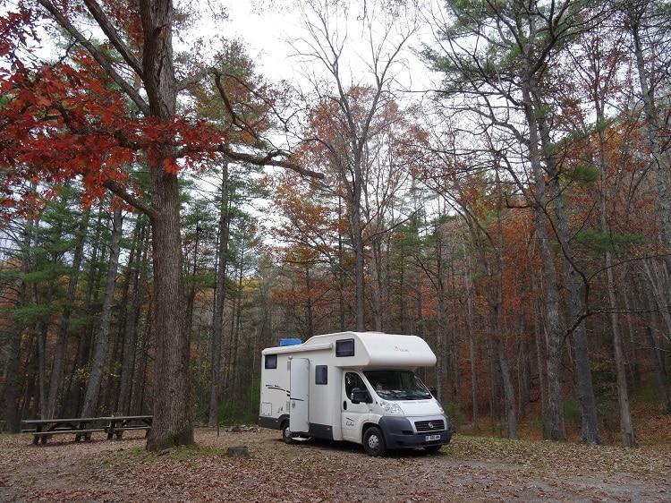 Camping gratuit en foret à l'Est des Etats-Unis