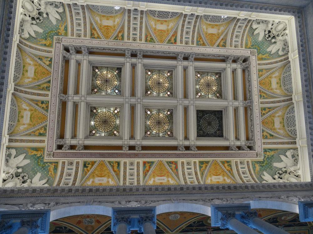 Le plafond du hall de la bibliothèque du Congrès