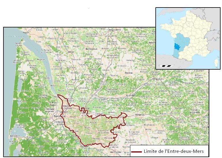 Entre-deux-Mers, un territoire à l'est du département de la Gironde délimité par la Dordogne au nord, la Garonne au sud