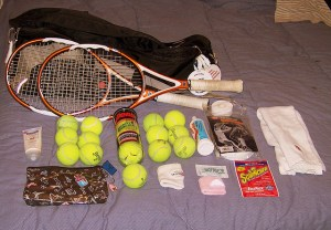 inside tennis bag