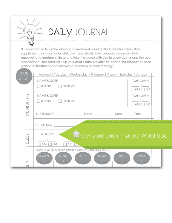Daily Journal Form. Customize