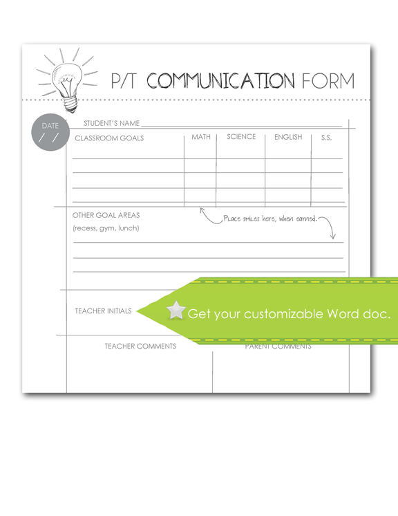 Parent Teacher Communication Form, customize