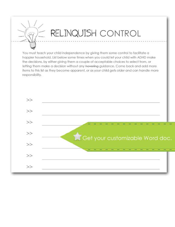 Relinquish Control Worksheet, customize