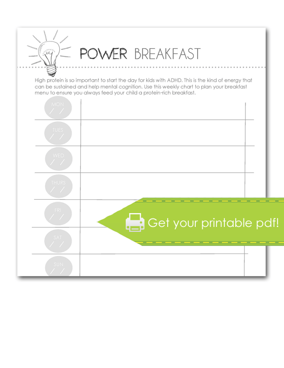 power breakfast worksheet, print