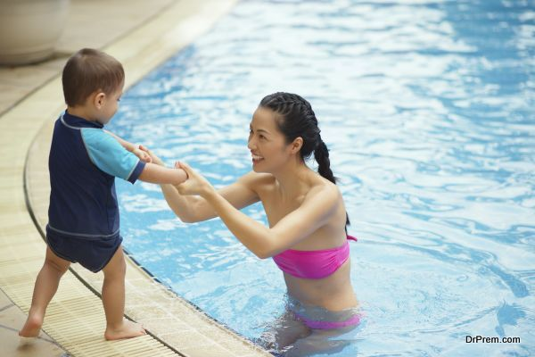 Chinese family in the pool