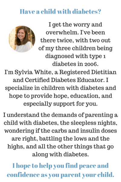 Sylvia White RD CDE owner of ParentingDiabetes.com. Provides diabetes education and support for children with type 1 diabetes.