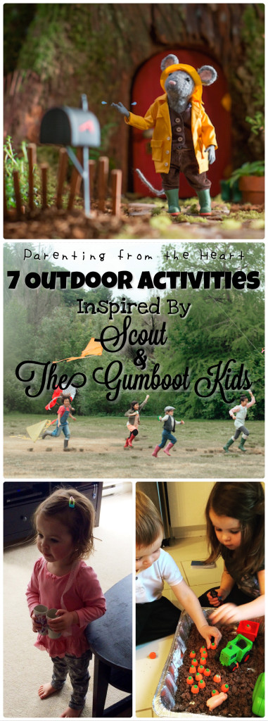 7 Outdoor Activities Inspired By Scout & The Gumboot Kids | Parenting from the Hear -- Sensory play, learning through play, play dough recipe, scavenger hunt