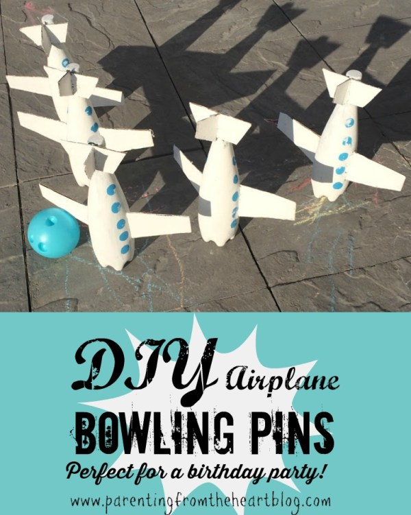 Easy, DIY toddler friendly, airplane bowling craft. PERFECT for an airplane birthday party, indoor play during the winter, or for the backyard during summer time.