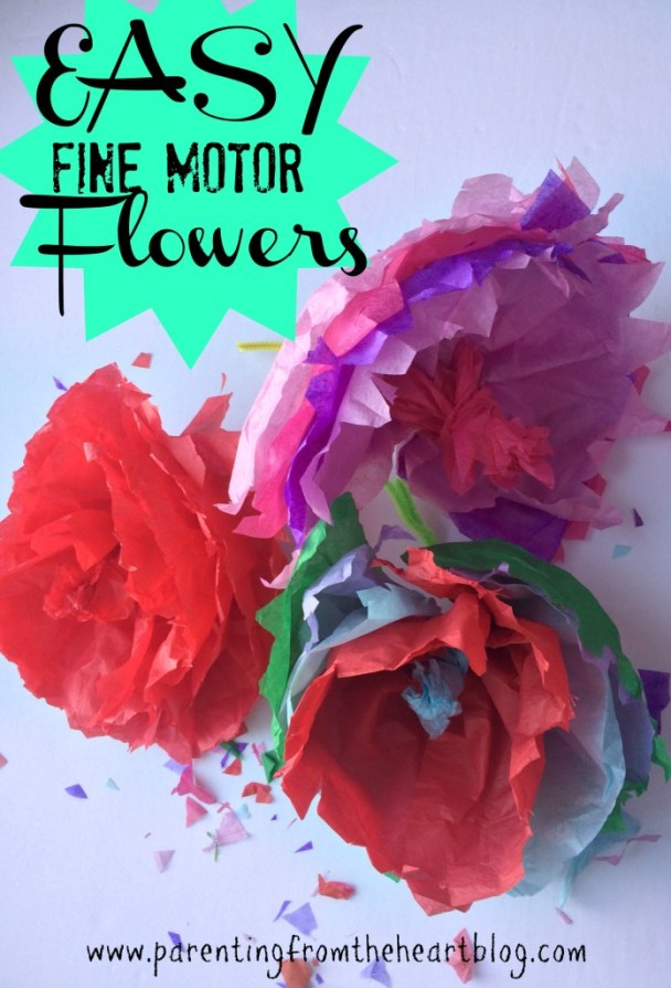 Make super easy fine motor flowers with only two supplies. Great for Spring and Easter decorations! Helps your child work on fine motor, their pincer grip, and gives them practice with scissors