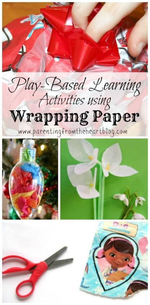 After Christmas or Birthday parties there is so much gift wrap! Recycle and reuse wrapping paper with these play-based learning kids ideas! Some ideas use tissue paper others gift wrap for these kids crafts.